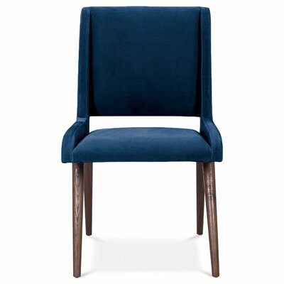 Mid Century Upholstered Dining Chair Upholstery Color: Indigo Blue, Leg Color: Light Walnut