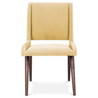 Mid Century Upholstered Dining Chair Upholstery Color: Hollandaise, Leg Color: Light Walnut