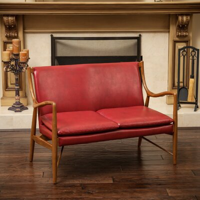 Rosette Loveseat Upholstery Color: Red