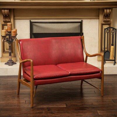 Rosette Loveseat Upholstery: Red