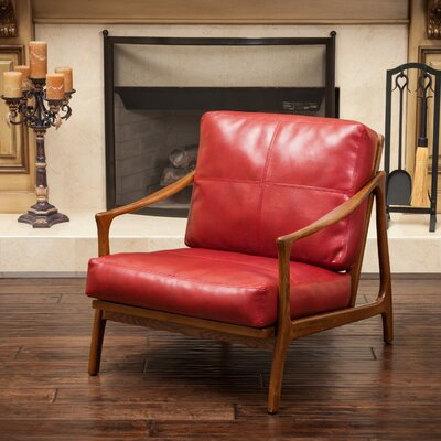 Henry Leather Armchair Upholstery: Red
