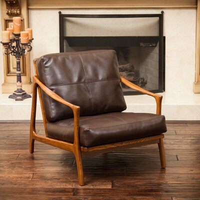 Henry Leather Armchair Upholstery: Brown