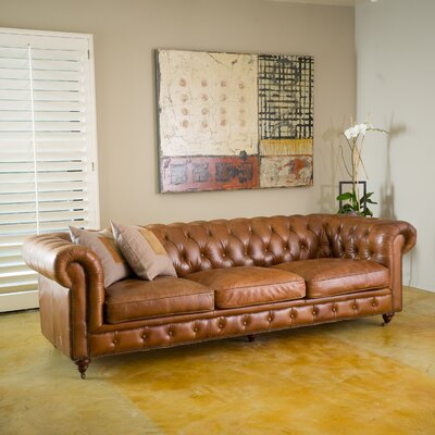 Clairemont  Leather Chesterfield Sofa