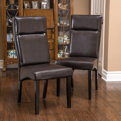 Clancy Genuine Leather Upholstered Dining Chair