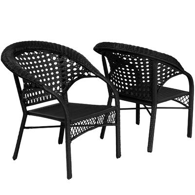 Wicker Club Chair Finish: Black