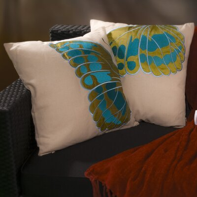 Flight Embroidered Wings Throw Pillow