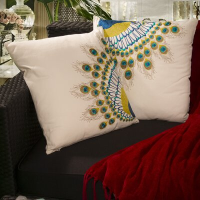 Natural Embroidered Peacock Tail Throw Pillow