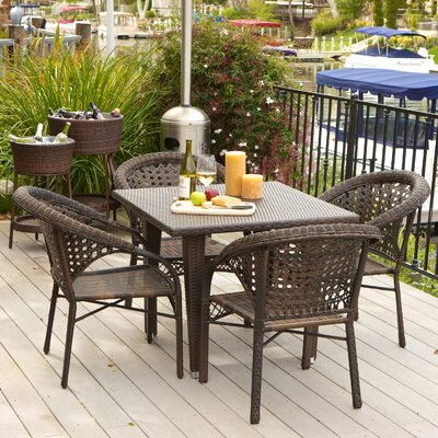 Alsup 5 Piece Outdoor Dining Set Finish: Brown