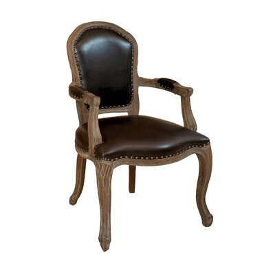 Carolina Leather Weathered Wood Armchair