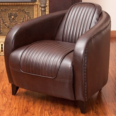 Manado Channeled Leather Barrel Chair
