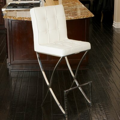 28 Bar Stool Upholstery: White