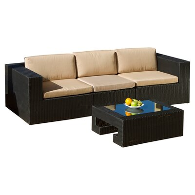 Malaga Outdoor 3 Piece Seating Group in Black with Cushions