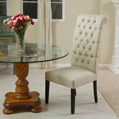 Montenal Tall Back Tufted Fabric Single Chair