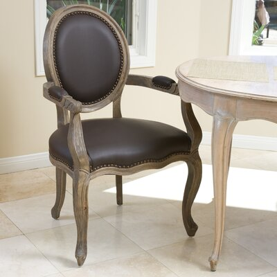 Reshad Leather Upholstered Dining Chair Color: Brown