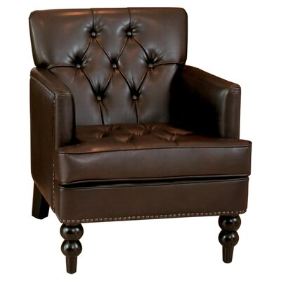 Malone Leather Club Chair in Brown