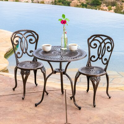 Stella 3 Piece Cast Aluminum Outdoor Bistro Set