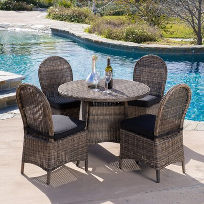 Tarah 5 Piece Wicker Dining Set with Cushions