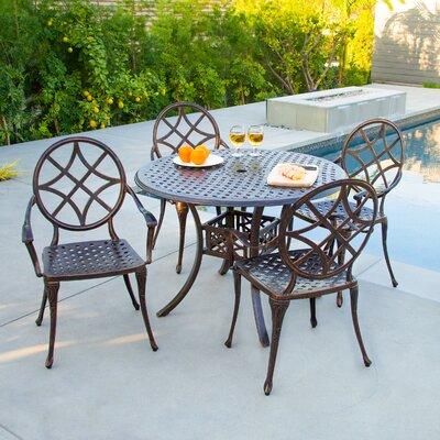 Cosette 5 Piece Cast Aluminum Copper Outdoor Dining Set