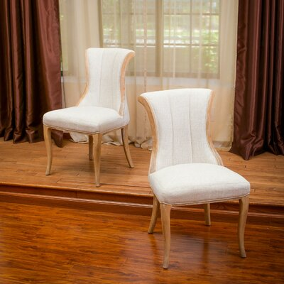 Miltonia Wood Dining Side Chair Upholstery: Light Beige