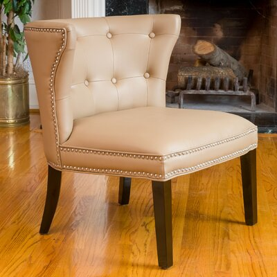 Theodore Leather Barrel Chair Color: Vicenza Came