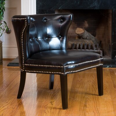 Theodore Leather Barrel Chair Color: Black