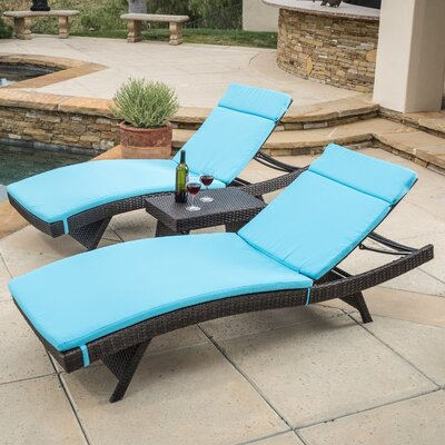 Rio Vista Chaise Lounge Set with Cushion Finish: Blue