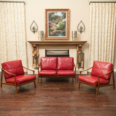 Marybelle 3 Piece Living Room Set Fabric: Red