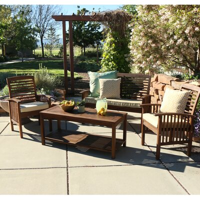 4 Piece Bench Seating Group with Cushions Frame Finish: Dark Brown