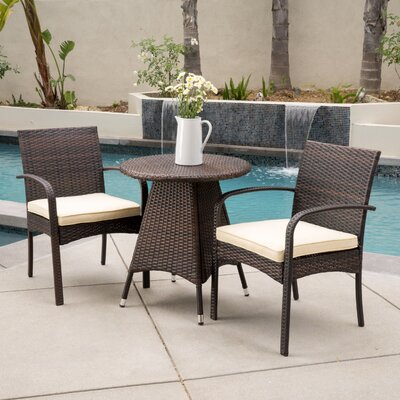 Peterson 3 Piece Bistro Set Finish: Multibrown