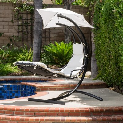 La Vida Polyester Hanging Chaise Lounger with Stand Color: White