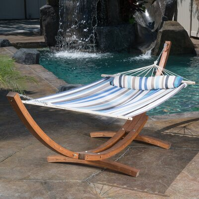 Kouklia Canvas Hammock with Stand Color: Blue Striped