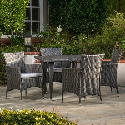 Isiah 5 Piece Dining Set with Cushions