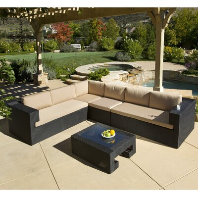 Quinn 5 Piece Deep Seating Group in Black with Cushions