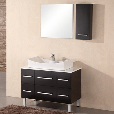 Vivaan 36 Single Bathroom Vanity Set with Mirror Base Finish: Espresso