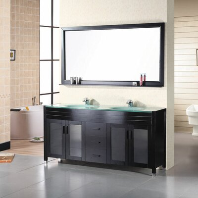 Remi 71 Double Bathroom Vanity Set with Mirror Base Finish: Espresso