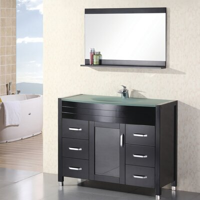 Remi 48 Single Bathroom Vanity Set with Mirror Top Finish: Tempered Glass