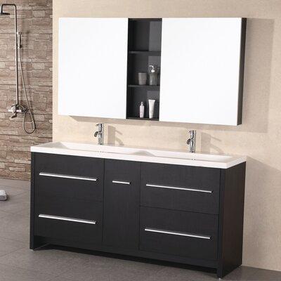 Royal 63 Double Bathroom Vanity Set with Mirror Base Finish: Espresso
