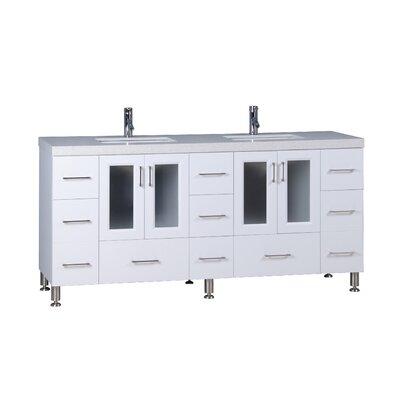 Karson 72 Double Bathroom Vanity Set Base Finish: White
