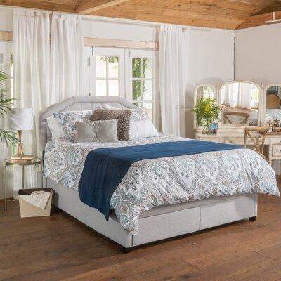 Haverford Gray Fabric Upholstered Storage Platform Bed Size: Queen