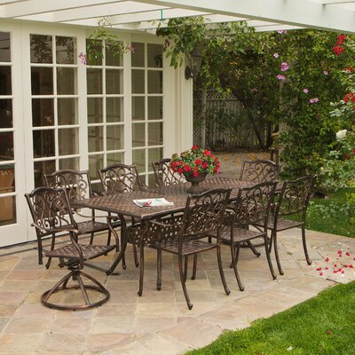 Cicero 9 Piece Expandable Cast Aluminum Dining Set