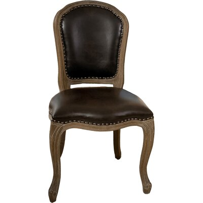Teachupo Leather Weathered Wood Dining Chair
