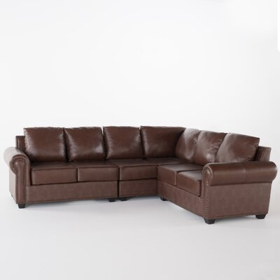 Kerry Leather Modular Sectional Upholstery: Brown
