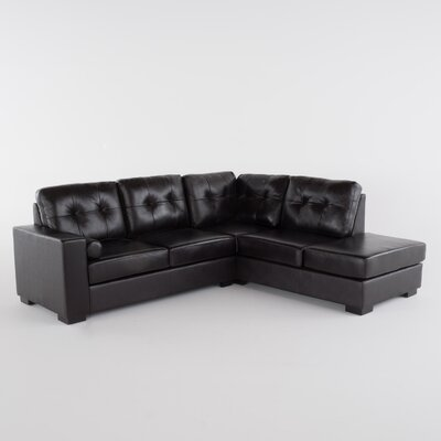 Marcus Leather Sectional Upholstery: Black