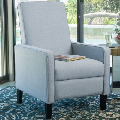 Erick Natural Linen Recliner Color: Light Gray