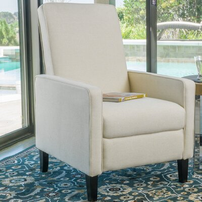 Erick Natural Linen Recliner Color: Beige