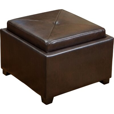 Drexel Leather Tray Top Storage Ottoman Upholstery: Brown