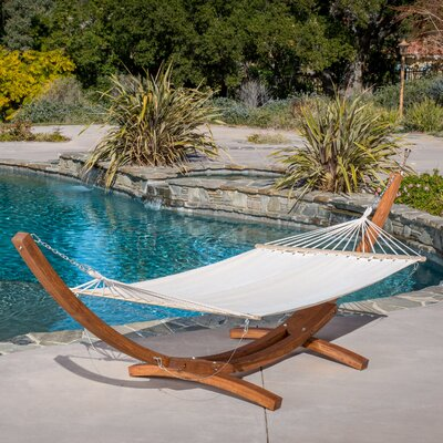 Ava Canvas Hammock with Stand Color: White