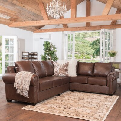 Kerry Leather Modular Sectional Upholstery: Wine