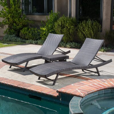 Alejandre 3 Piece Chaise Lounge Set Finish: Brown