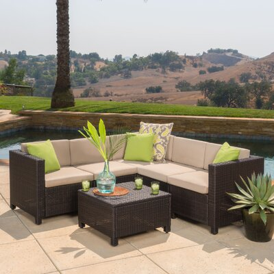 Chia 6 Piece Sectional with Cushion Finish: Brown/Beige